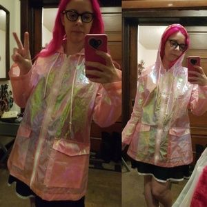 Pink iridescent rain coat withnhood and pockets